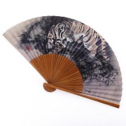 abanico japonés gris 22cm para hombre en papel y bambú, TORA, tigre