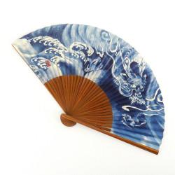 abanico japonés azul 22cm para hombre en papel y bambú, RYÛ, dragón