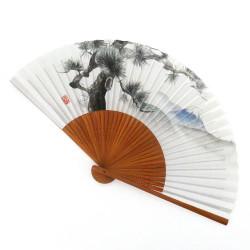 abanico japonés blanco 22cm para hombre en papel y bambú, MATSUFUJI, pino y montaña