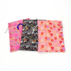 Bolsa recargable japonesa 100% rayón 26.5x20cm, KINRAN, motivos florales
