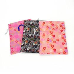 Sac resserrable japonais 100% rayonne 26.5x20cm, KINRAN, motifs floraux