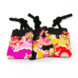 Japanese crossbody bag 21x17.5x3cm CHIRIMEN floral patterns