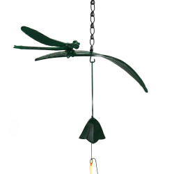 japanese green cast iron wind bell, TOMBO, dragonfly
