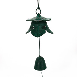 green wind bell made of cast iron japan lantern shape TEMPLE