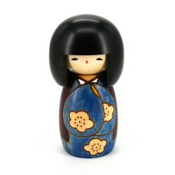 Japanese blue kokeshi doll good day pattern, KOJITSU