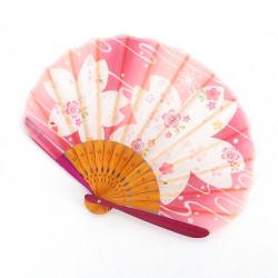 ventaglio giapponese rosa 21 cm per donna, BIGSAKURA, fiori di ciliegio