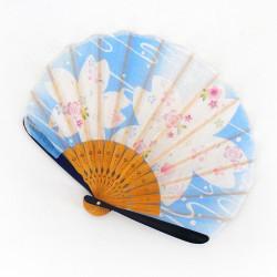 éventail japonais bleu 21cm pour femme, BIGSAKURA, fleurs de cerisier