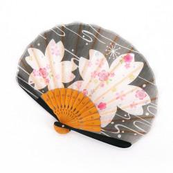 ventaglio giapponese nero 21 cm per donna, BIGSAKURA, fiori di ciliegio