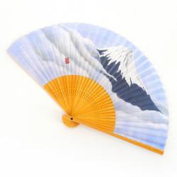 éventail japonais bleu ciel 22cm pour homme, FUJISAN, montagne et nuages