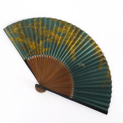 éventail japonais vert 22cm pour homme en papier et bambou, SUZUME, moineau