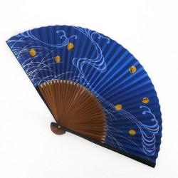 japanischer blau Fächer 22cm für Mann aus Papier und Bambus, HOTARU, Glühwürmchen