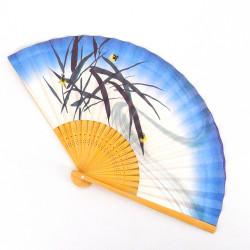 éventail japonais bleu et blanc 22,5cm pour homme en papier et bambou, HOTARU, lucioles