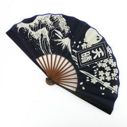 Dark blue Japanese fan 25.5cm for men in cotton, APPARE, fuji sakura wave
