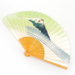 abanico japonés verde y blanco 22,5cm para hombre en papel y bambú, FUJISAN, montaña