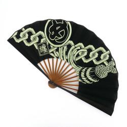 dark blue japanese fan 25.5cm for men in cotton, MATOI, kamon chain