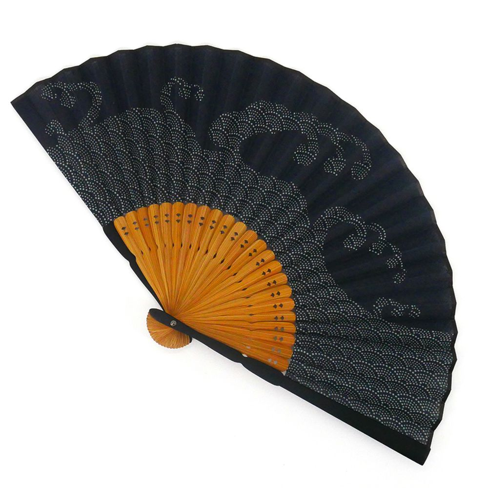 japanese fan dark blue 22cm for men in cotton, SEIGAIHA, waves
