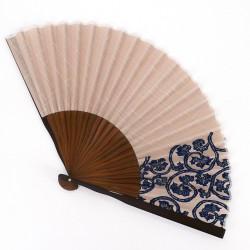grauer japanischer Fächer 25,5cm für Herren, AOGURE, blaue Muster
