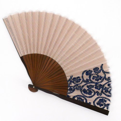 ventaglio giapponese grigio 25,5 cm per uomo, AOGURE, motivi blu