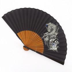 Japanese fan black 22,5cm for men, TOURYUMON, dragon