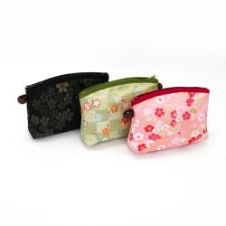 bolsa de maquillaje japonesa con motivos florales 16,5x12x4,5cm KINRAN