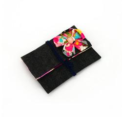 housse japonaise en coton pour mouchoir, CHIRIMEN, motifs floraux