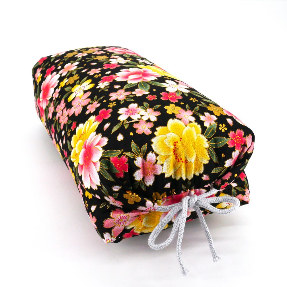 Japanese cushion stuffed with buckwheat pods, BOTAN, peonies