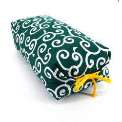 Japanese cushion stuffed with buckwheat pods, UZUMAKI, green