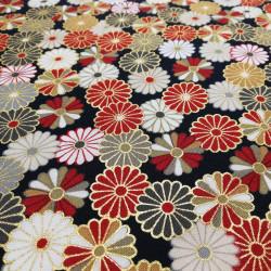 tissu noir japonais en coton chrysanthèmes fabriqué au Japon largeur 110 cm x 1m