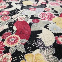 tissu noir japonais en coton grues et fleurs fabriqué au Japon largeur 110 cm x 1m