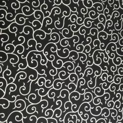 tissu blanc japonais en coton motifs spirales fabriqué au Japon largeur 110 cm x 1m