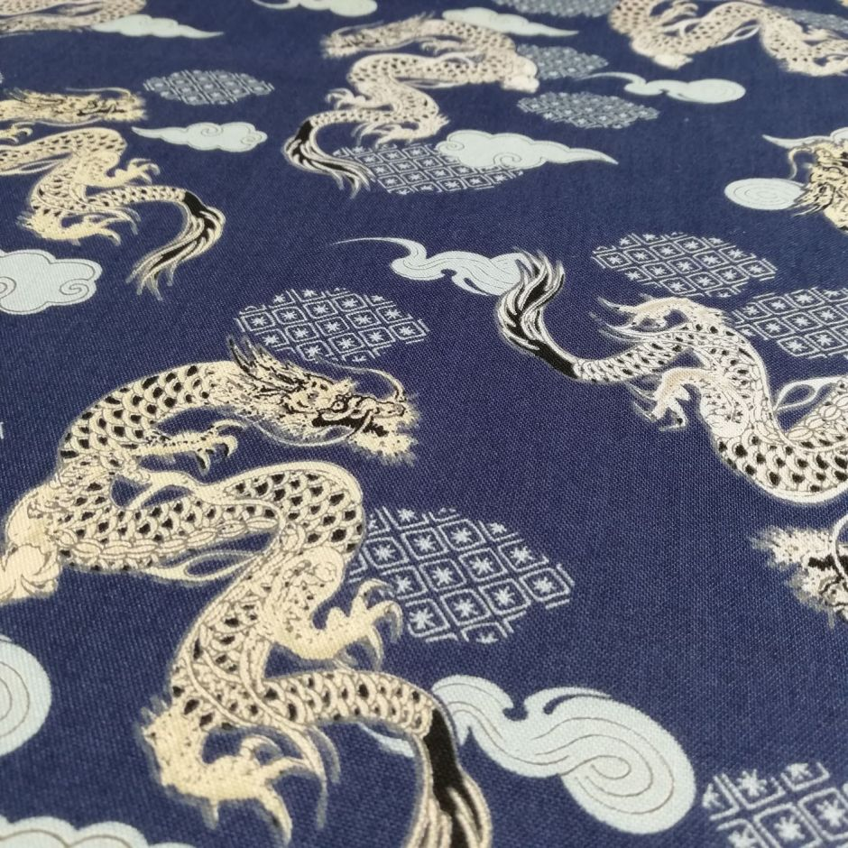 Blue Japanese cotton fabric with dragons made in Japan width 110 cm x 1m