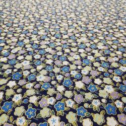tissu bleu japonais en coton fleurs fabriqué au Japon largeur 110 cm x 1m