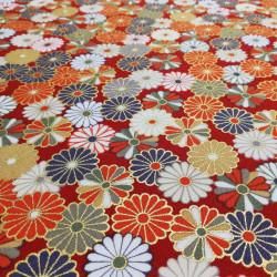 tessuto rosso giapponese, 100% cotone, crisantemo