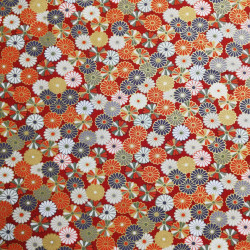 tissu rouge japonais en coton chrysanthèmes fabriqué au Japon largeur 110 cm x 1m