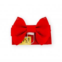 ceinture et noeud traditionnel japonais pour enfant, MUSUBI-OBI, rouge