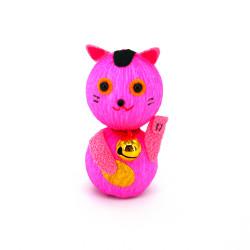 poupée japonaise okiagari, MANEKINEKO, chat rose