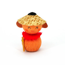 poupée japonaise okiagari, JIZO, protecteur orange