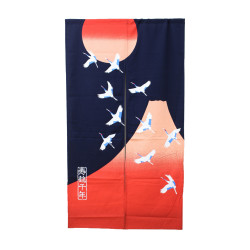 Japanese curtain NOREN, Crane and Mount Fuji