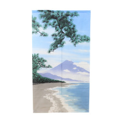 Japanese curtain NOREN, Fuji and beach landscape