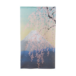 Japanese curtain NOREN, Fuji and sakura landscape