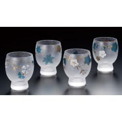Set 4 japanischen Sake Gläser Shiki Meguri