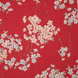 Red Japanese cotton fabric flower patterns made in Japan width 110 cm x 1m
