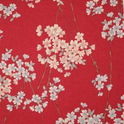 tessuto rosso giapponese, 100% cotone, motivo floreale