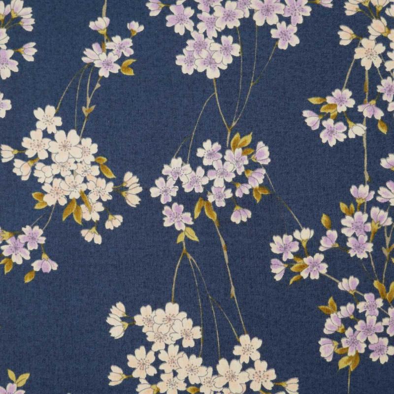 tissu bleu japonais en coton motifs fleurs fabriqué au Japon largeur 110 cm x 1m