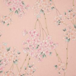 tissu rose japonais en coton motifs fleurs fabriqué au Japon largeur 110 cm x 1m