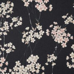 tessuto nero giapponese, 100% cotone, motivo floreale