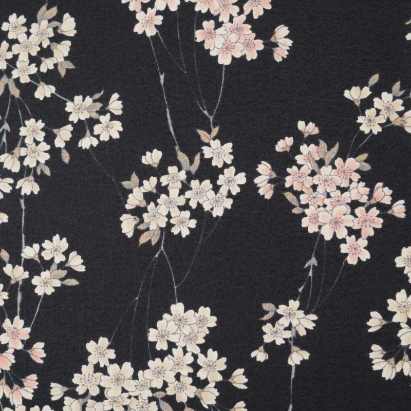 tissu noir japonais en coton motifs fleurs fabriqué au Japon largeur 110 cm x 1m