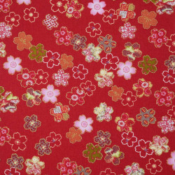 Tessuto rosso giapponese, 100% cotone, motivo Sakura