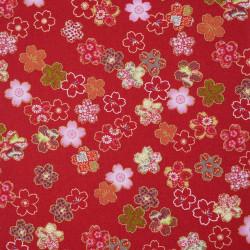 tissu rouge japonais en coton fleurs de sakura fabriqué au Japon largeur 110 cm x 1m