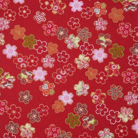 Red Japanese cotton fabric sakura flowers made in Japan width 110 cm x 1m